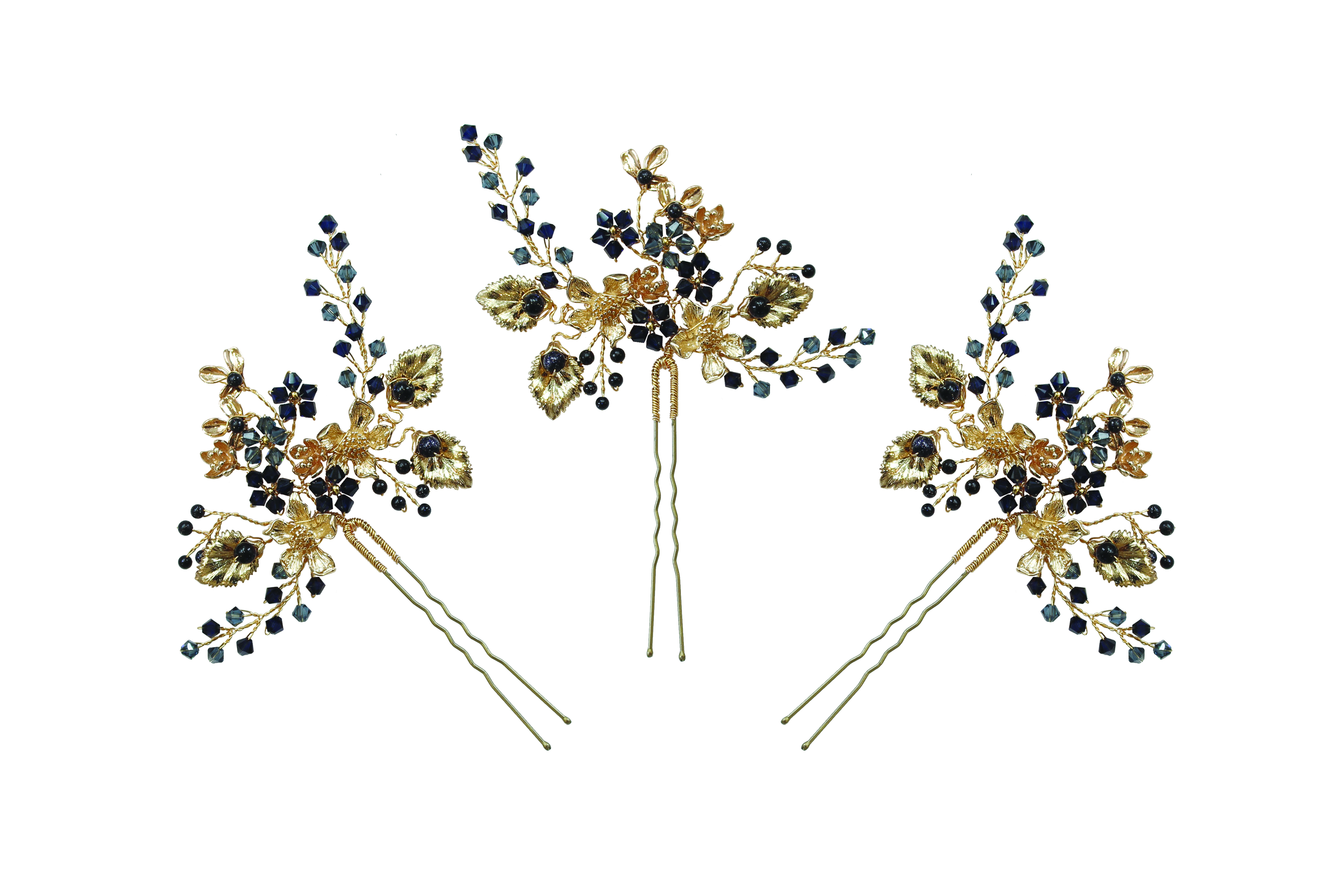navy blue and gold wedding hairpins by Hermione Harbutt