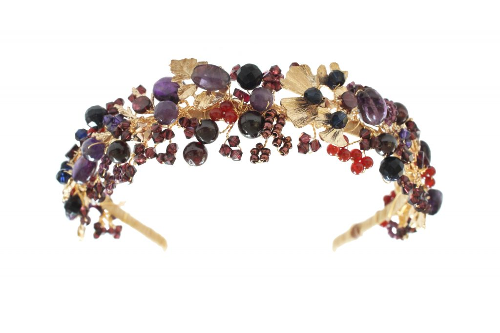 gemstone handmade embellished gold crystal jewelled fashion headband by Hermione Harbutt