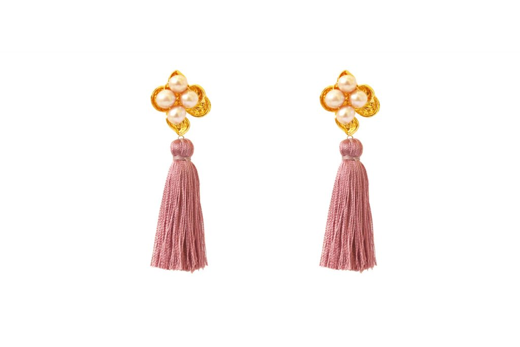 Mauve and gold embellished couture fashion tassel earrings by Hermione Harbutt