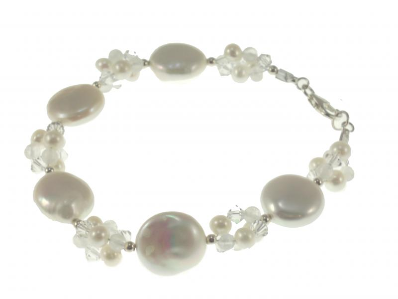 Image of Pearl and Swarovski Crystal Designer Bridal Bracelet - click to view