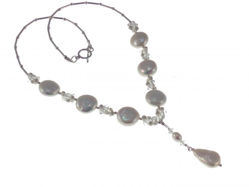 Coin Pearl Swarovski Crystal Vintage Wedding Necklace