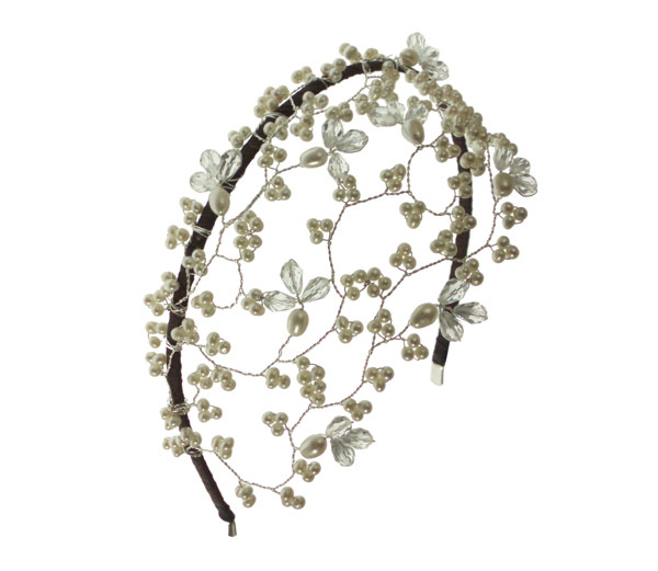 Image of Pearl and Crystal Handmade Vintage Wedding Headpiece - click to view