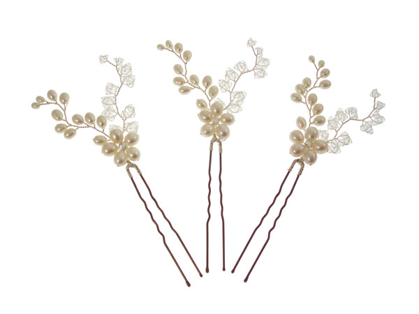 Image of Pearl and Crystal Flower Vine Vintage Wedding Hair Pins - click to view