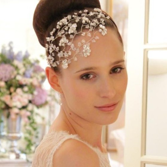 Image of Swarovski Crystal Vintage Wedding Side Tiara Headdress - click to view
