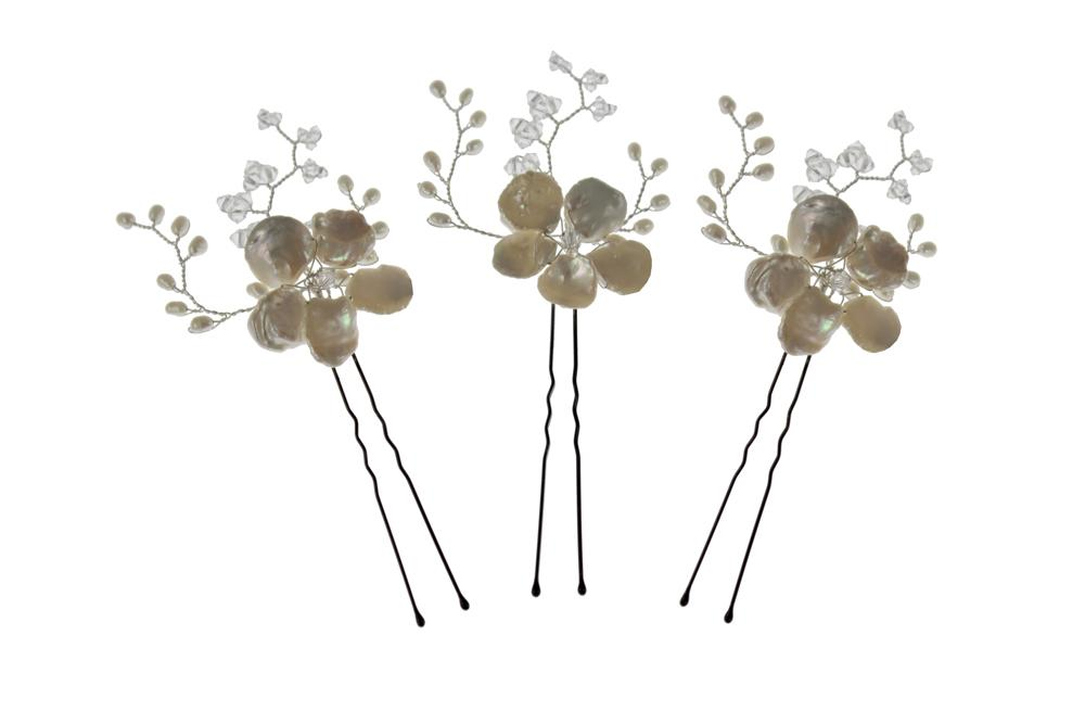 Pearl flower and Swarovski crystal hairpin hair pins