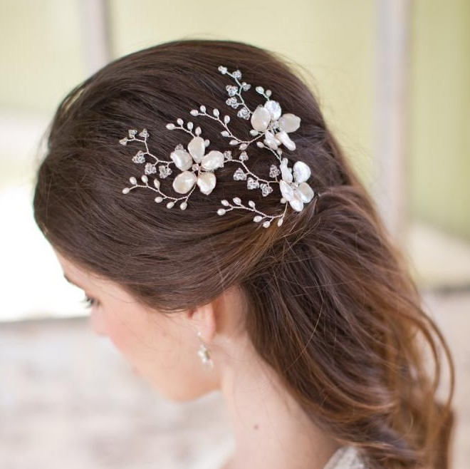 Image of Pearl flower and Swarovski crystal hairpin hair pins - click to view