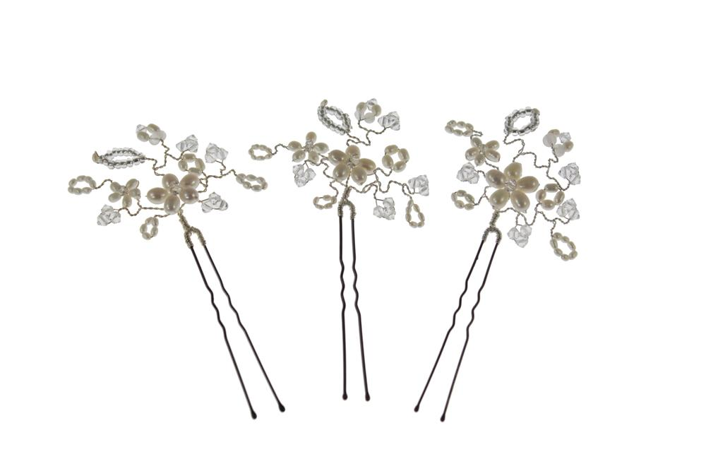 Floral hairpins pearl and crystal hair pins