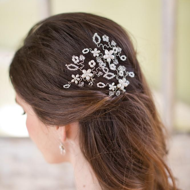Image of Floral hairpins pearl and crystal hair pins - click to view