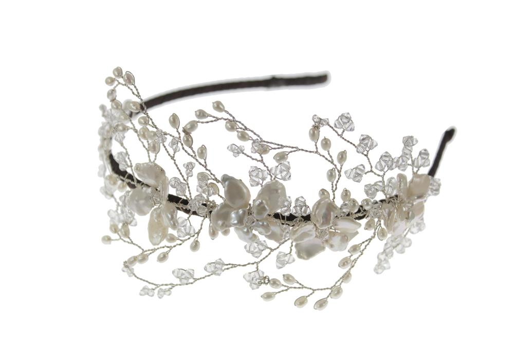 Pearl and Swarovski Crystal Vintage Wedding Side Tiara