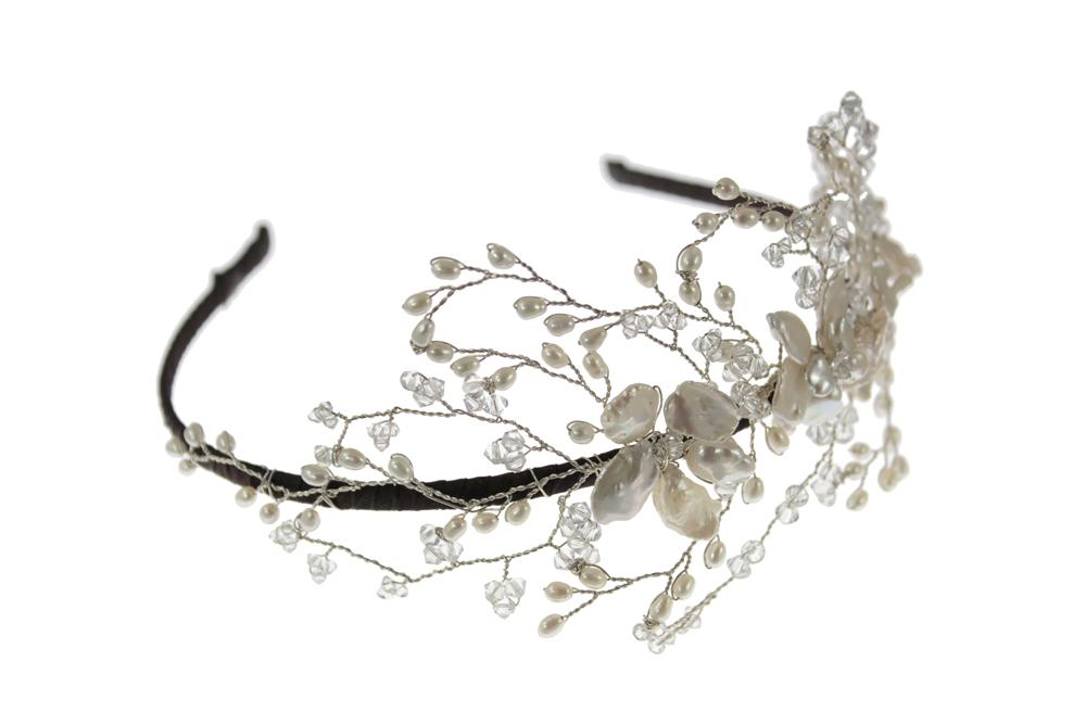 Image of Pearl and Swarovski Crystal Vintage Wedding Side Tiara - click to view