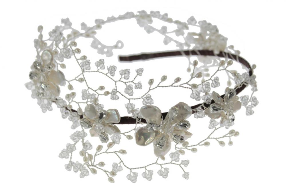 Pearl and crystal vine headpiece