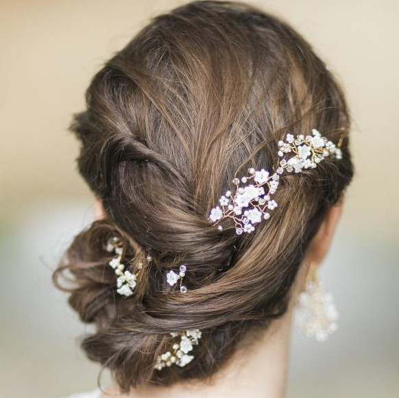 Image of flower pearl and crystal hair garland  - click to view