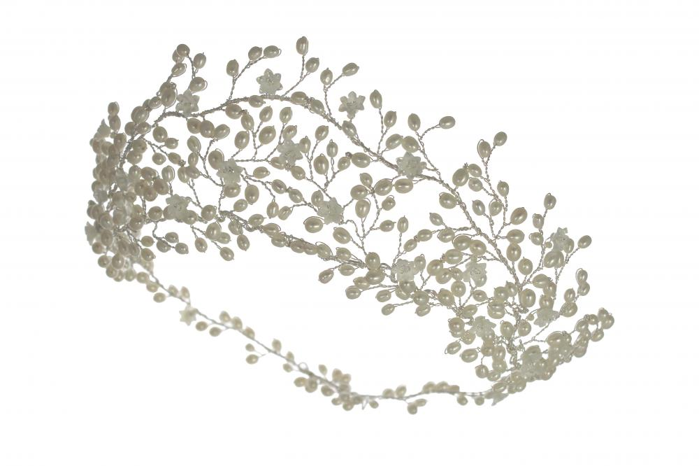 Image of pearl and crystal statement tiara - click to view