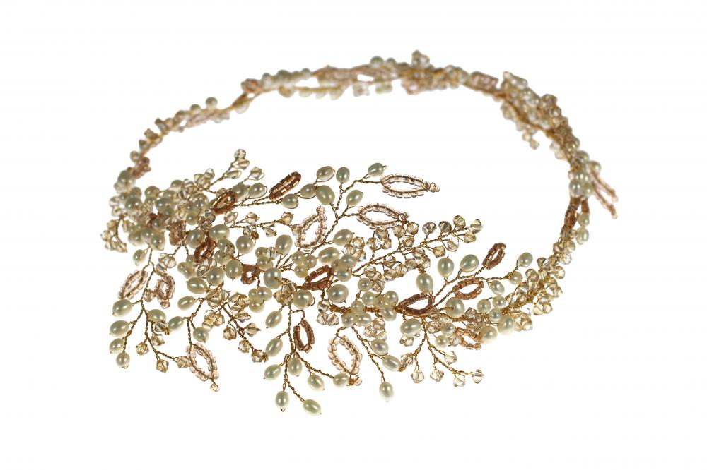 gold and honey coloured leaf hair garland
