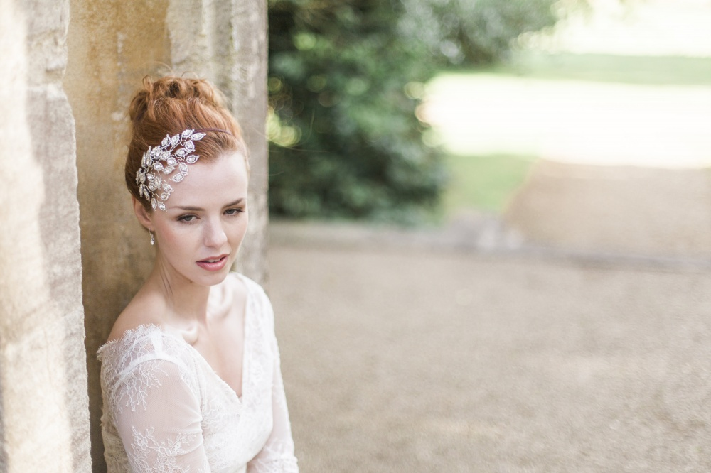 Image of Swarovski crystal leaf headpiece - click to view