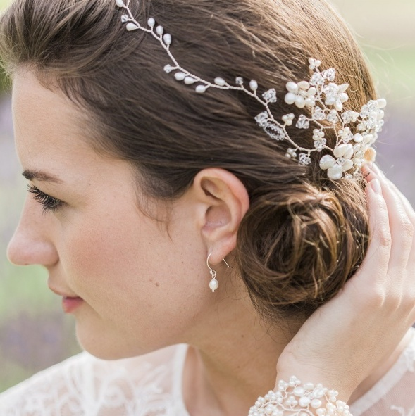 Image of floral pearl and crystal hair garland  - click to view
