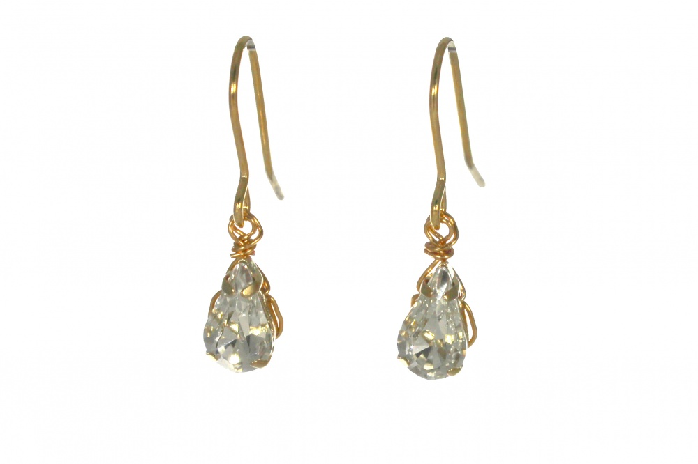 Gold And Silver Single Crystal Drop Earrings