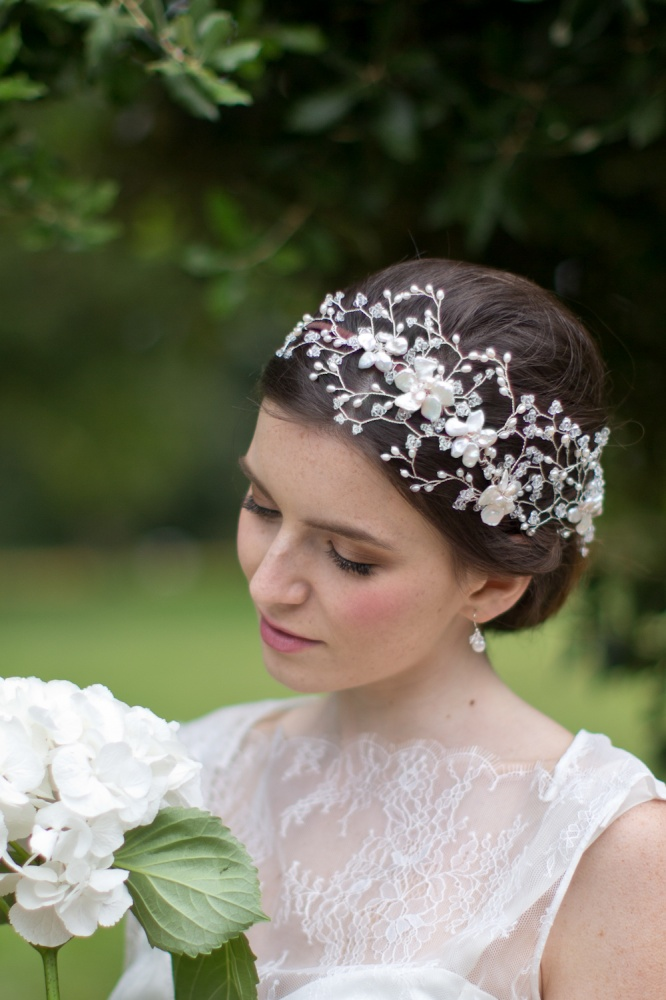 Image of Designer Vine Pearl and Swarovski Side Tiara Headdress - click to view