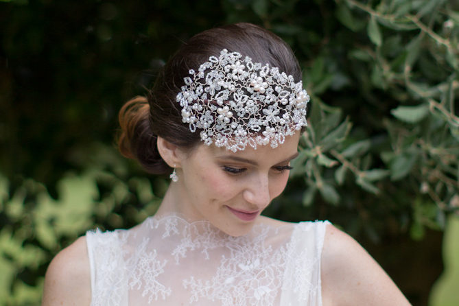 Image of Designer Pearl and Swarovski Vintage Wedding Side Tiara - click to view