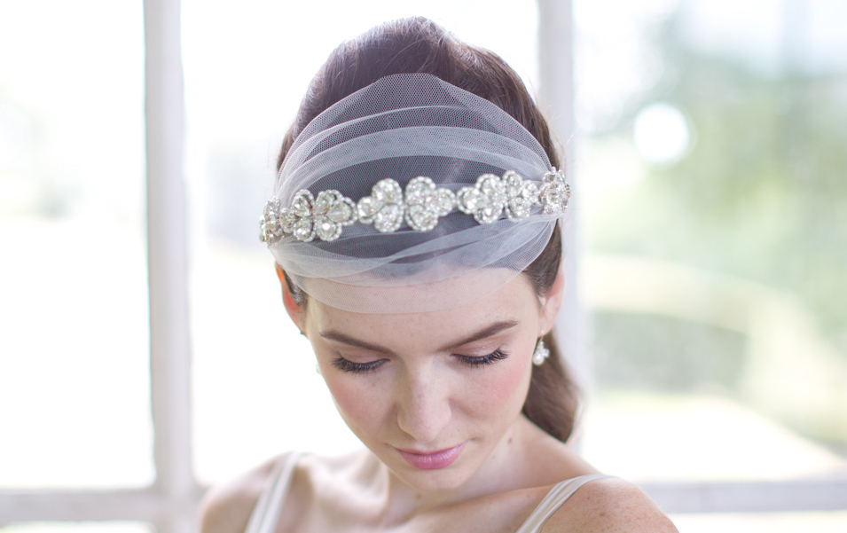 Image of Tulle and Swarovski crystal headpiece - click to view