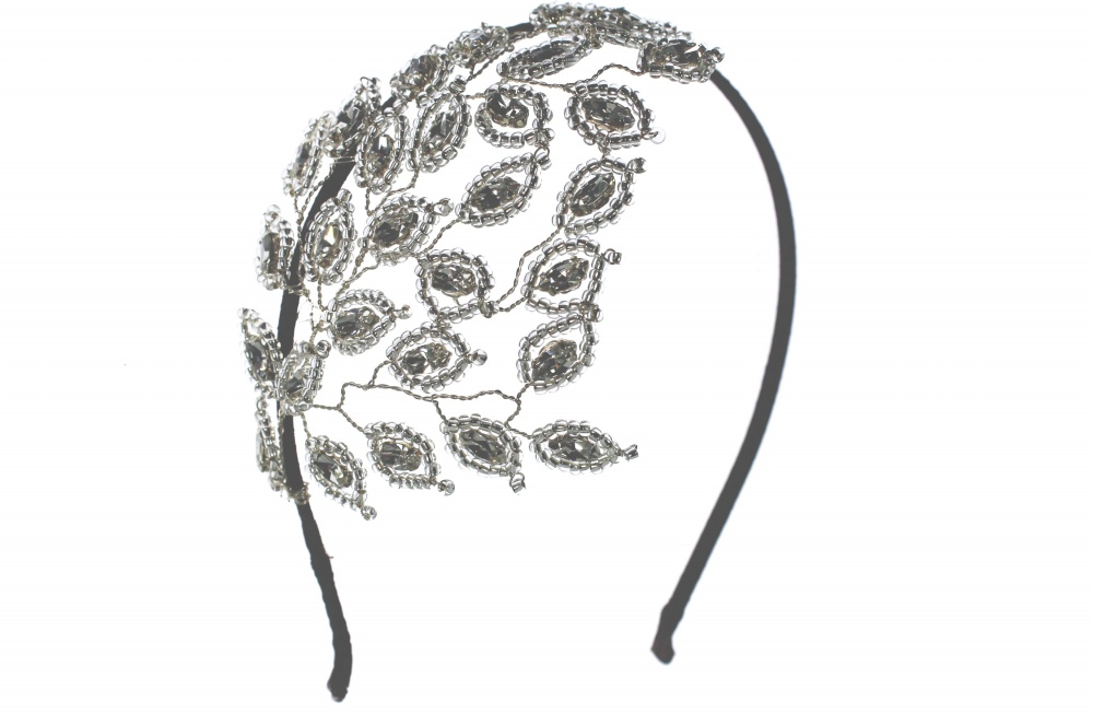 Swarovski crystal leaf headpiece