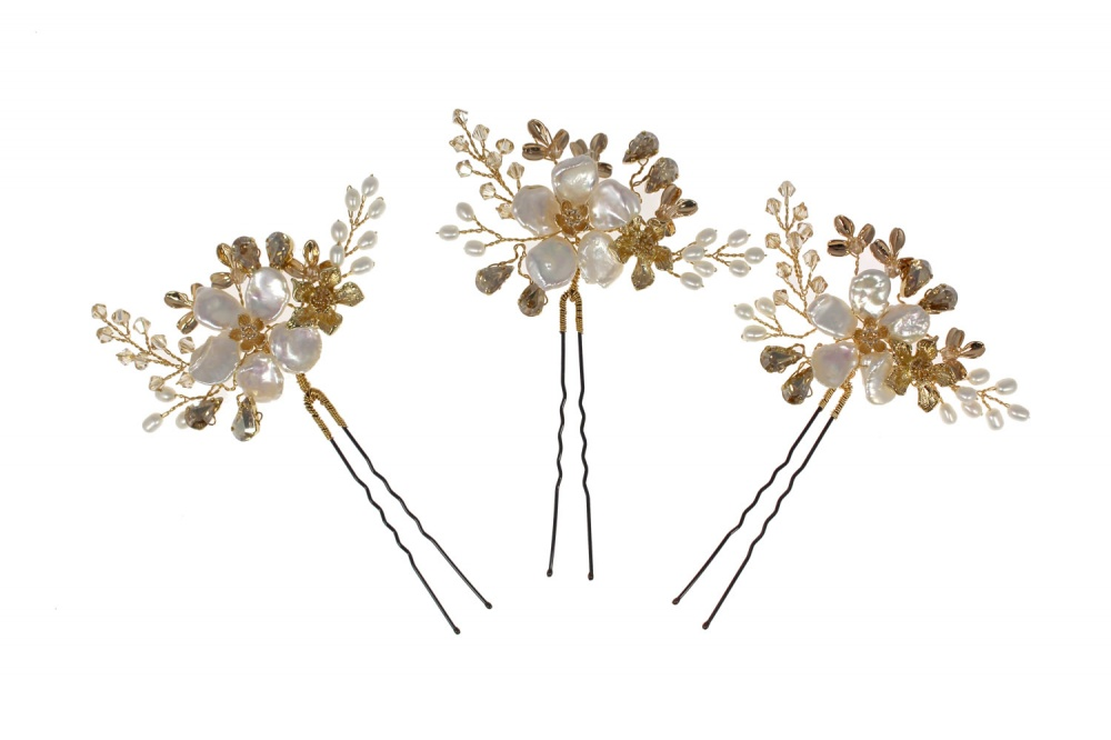 flower pearl and champagne swarovski crystal hairpins