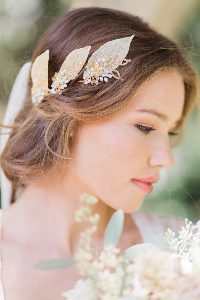 Image of Myrtle golden leaf wedding hairpins - click to view