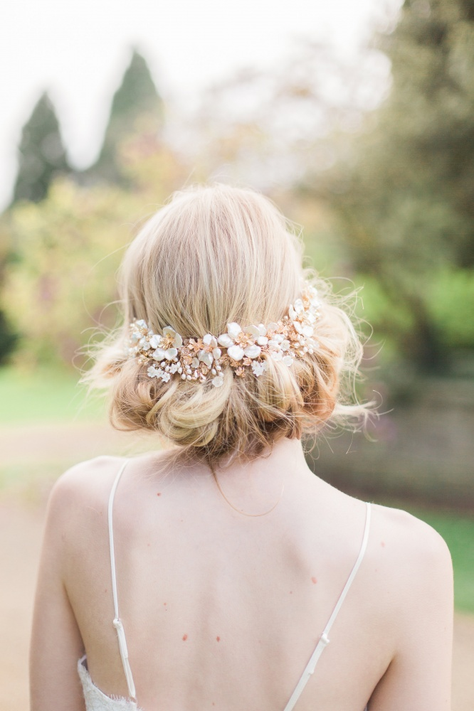 Image of pearl flower and champagne crystal headpiece - click to view
