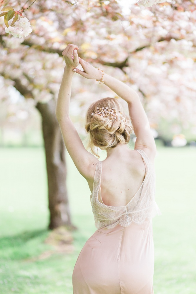 Image of blush and gold cherry blossom hairpins - click to view