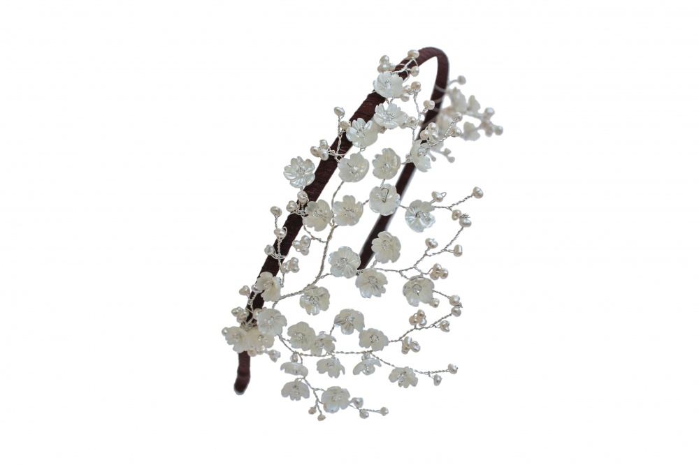 Image of mother of pearl flower headdress - click to view