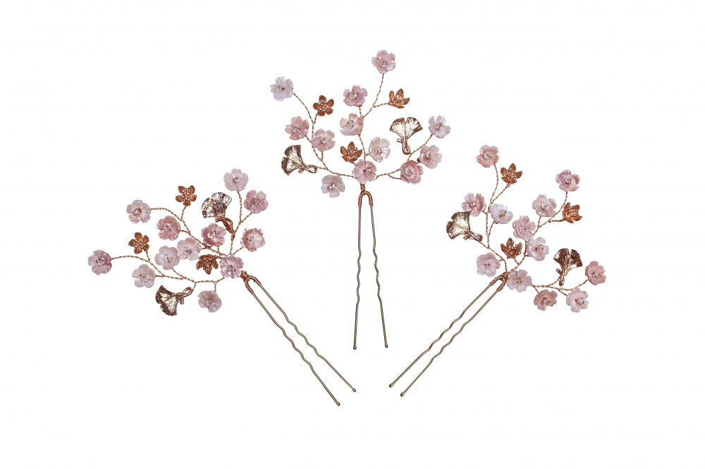 blush and gold cherry blossom hairpins