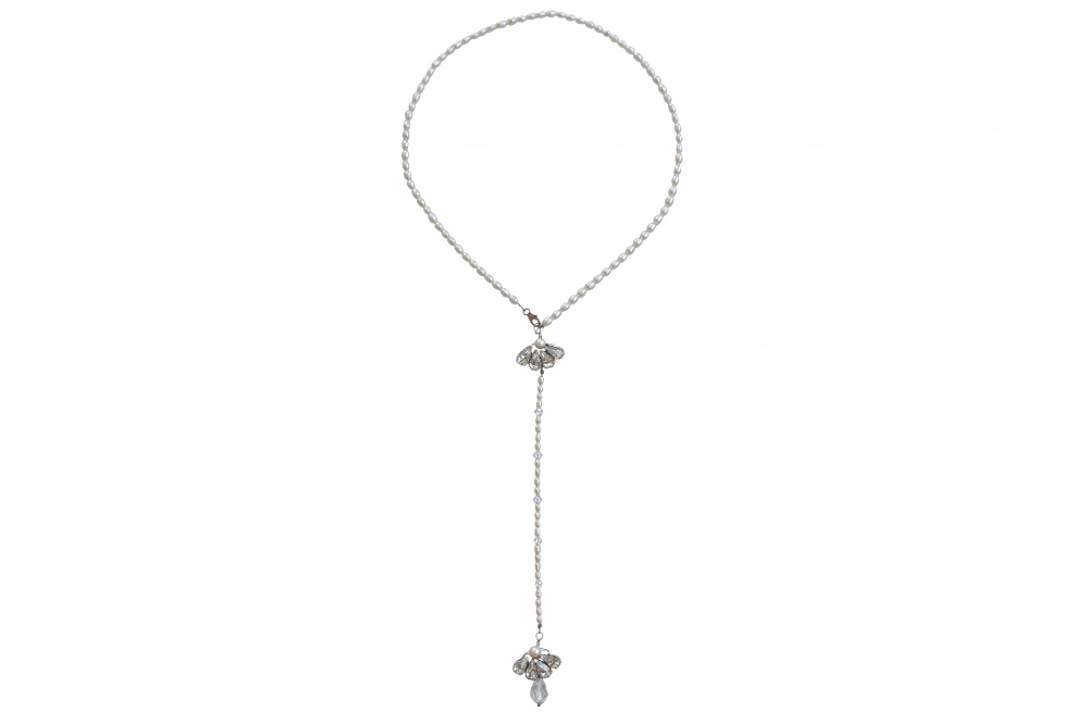 Image of pearl and swarovski crystal back necklace - click to view