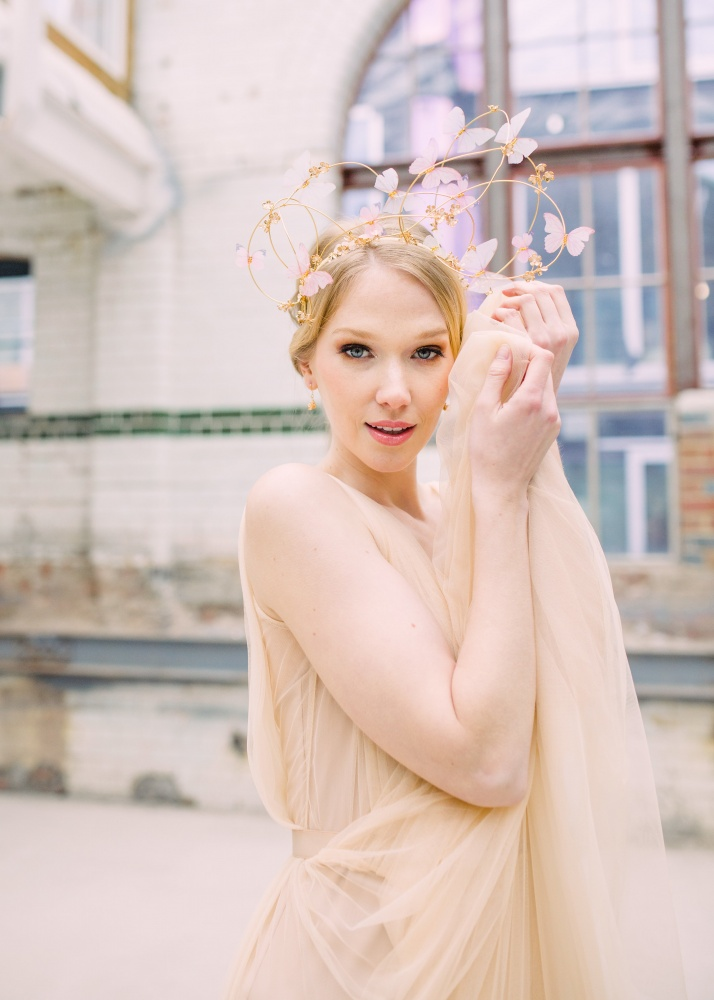 chiffon butterfly and golden vine headdress
