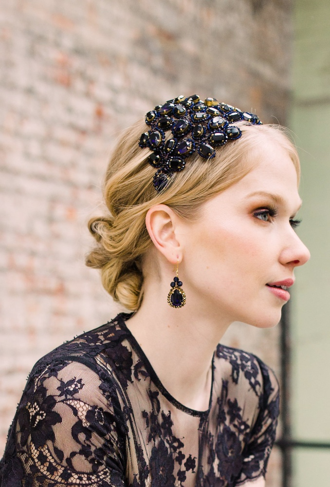 Image of Navy Swarovski Crystal Handmade Occasionwear Headpiece - click to view