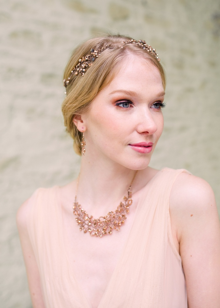 rose gold crystal embellished garland headdress