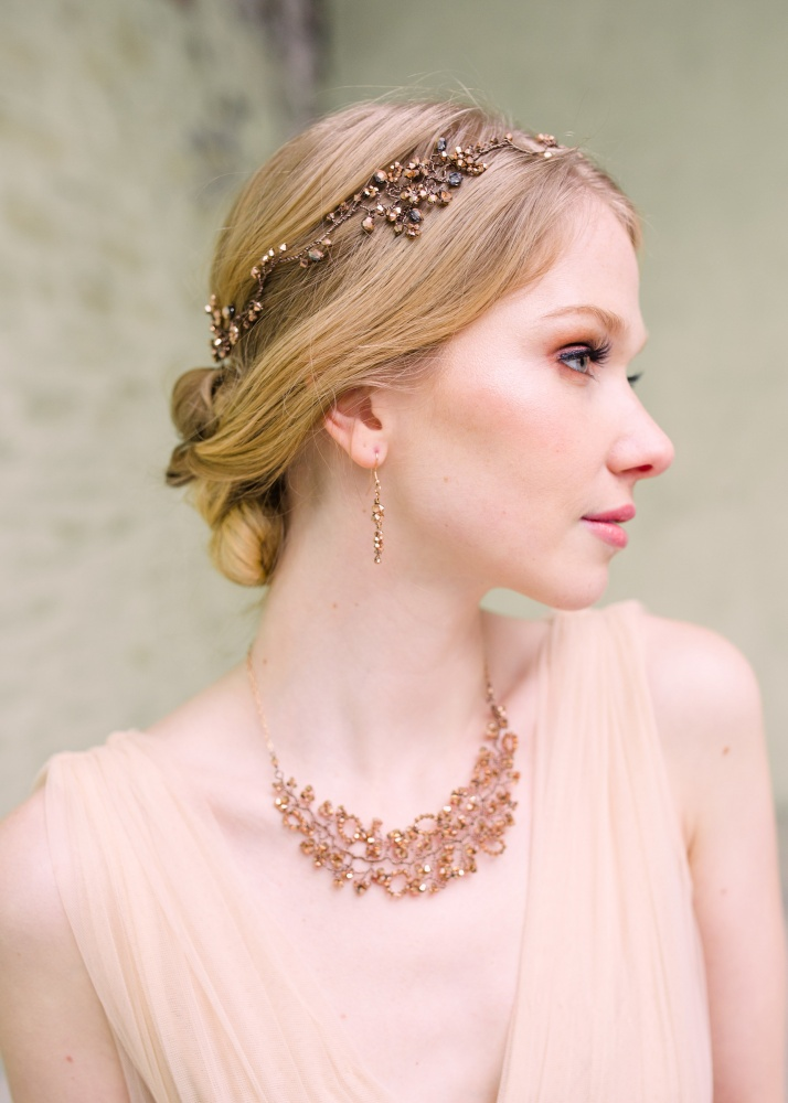 Image of rose gold crystal embellished garland headdress - click to view