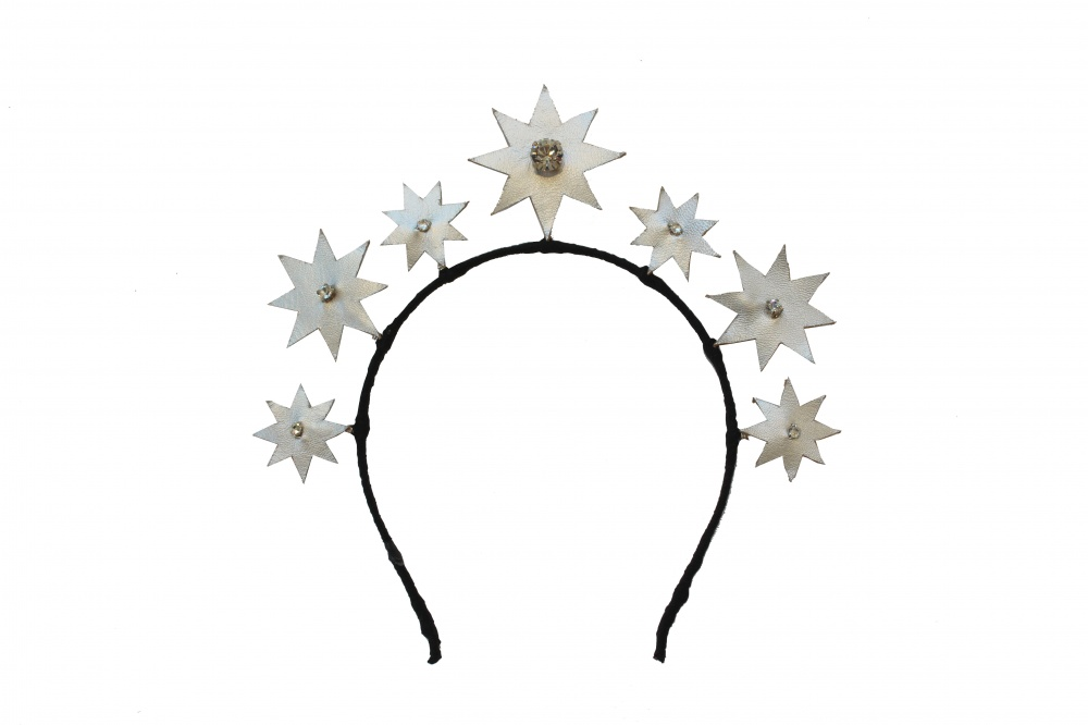 Image of Crystal embellished star leather headdress tiara - click to view