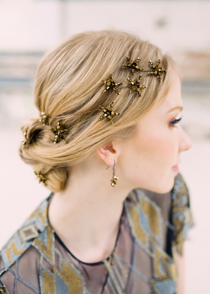 Image of Dark gold star crystal vine garland headdress - click to view