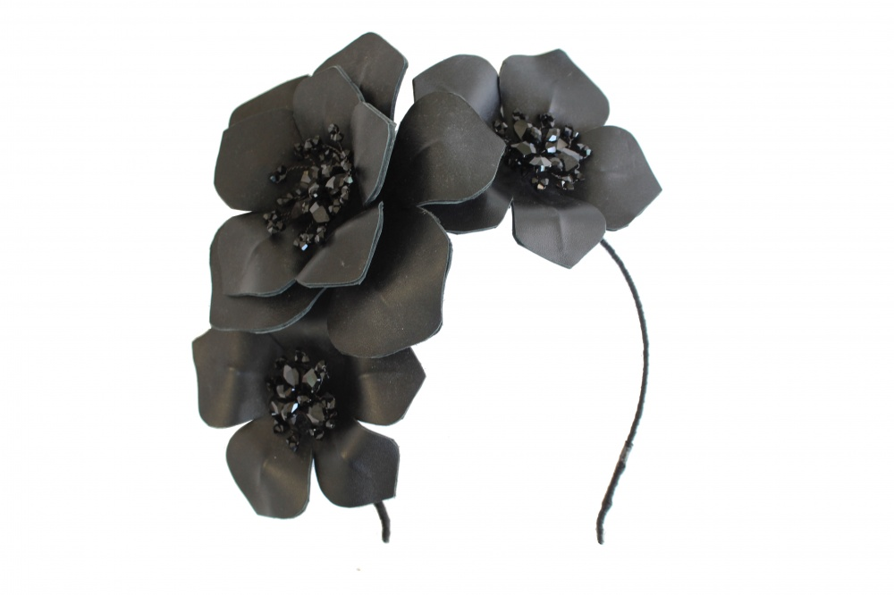 Image of Black leather crystal embellished flower headdress - click to view