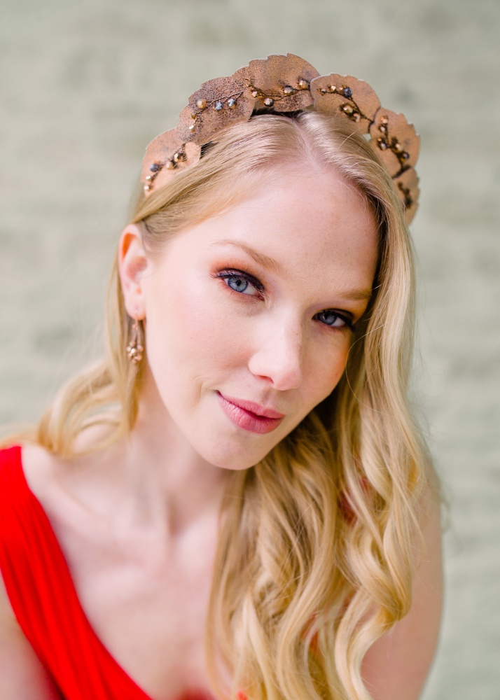 Image of Rose gold crystal embellished leaf crown tiara headdres - click to view