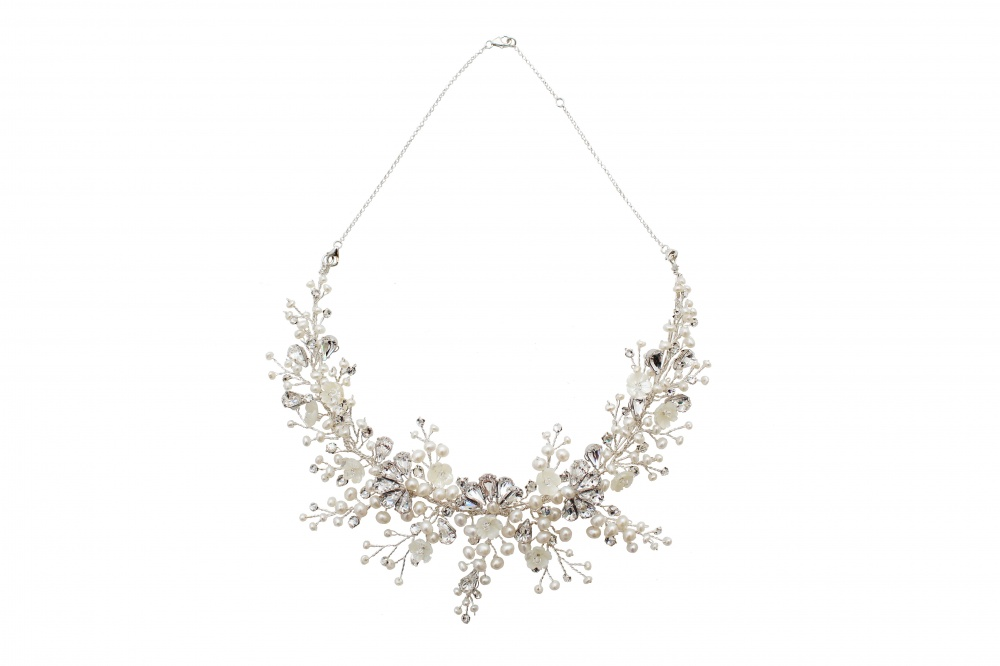 Image of Pearl and Swarovski crystal blossom art deco headpiece  - click to view