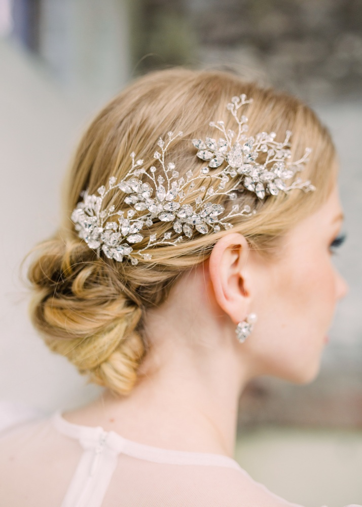 Image of Swarovski crystal leaf and vine hairpins - click to view