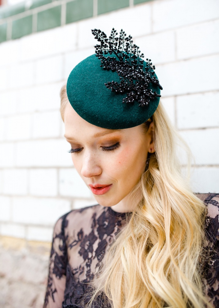 Image of Black crystal embellished emerald green pillbox hat - click to view 4a2e9c51b72
