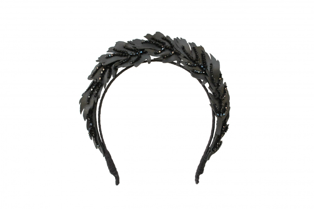 Image of black leather and crystal embellished crown headdress - click to view