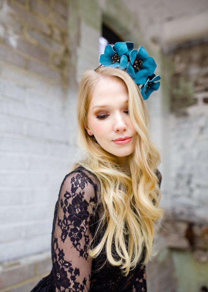 blue leather blossom floral crown race headdress hat