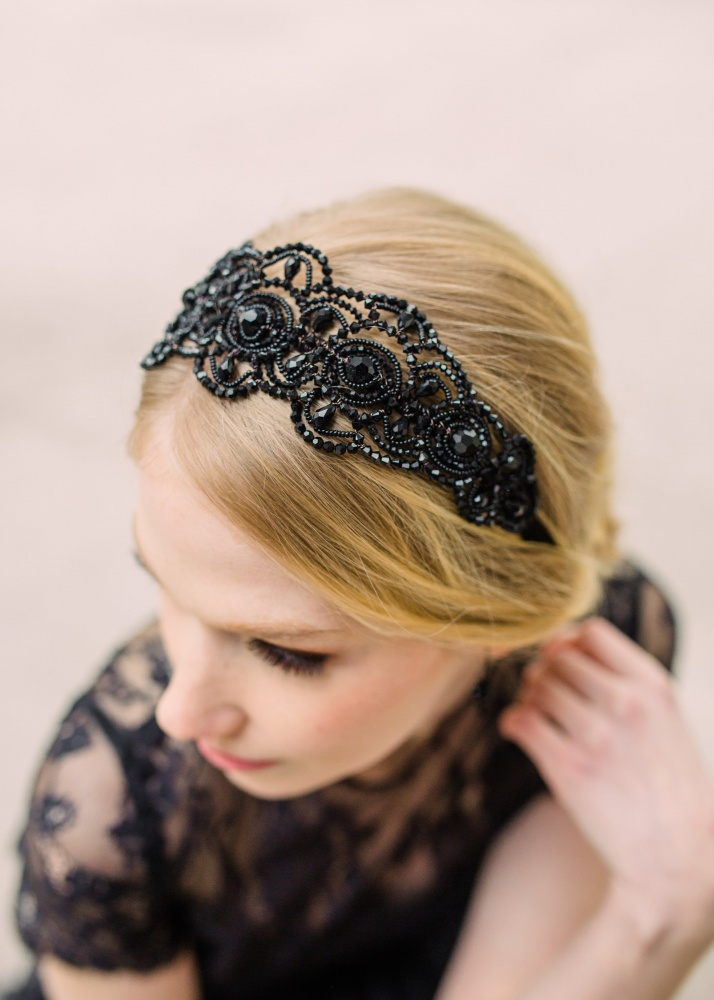 Image of Black Swarovski crystal art deco alice band headdress - click to view
