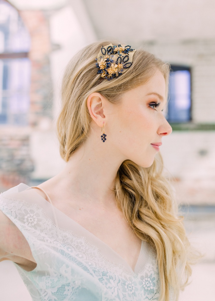 navy blue crystal gold leaf hair band tiara headdress
