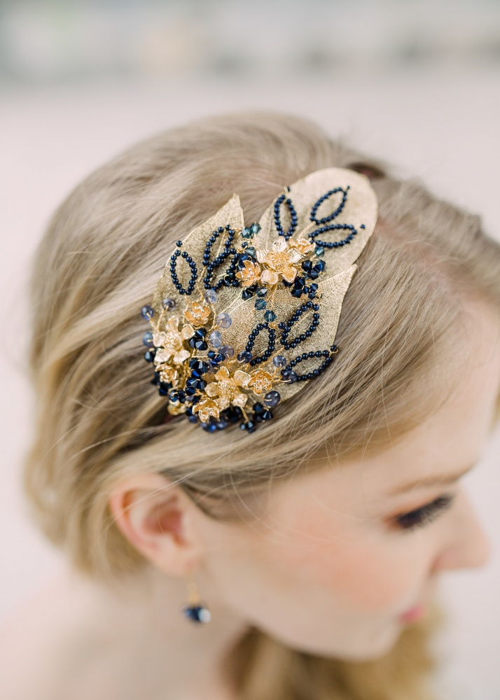 Image of navy blue crystal gold leaf hair band tiara headdress - click to view