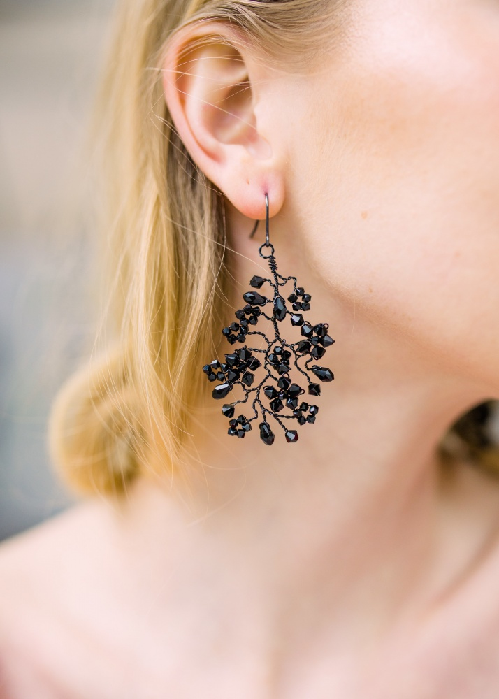 Image of Black Swarovski crystal chandelier earrings  - click to view