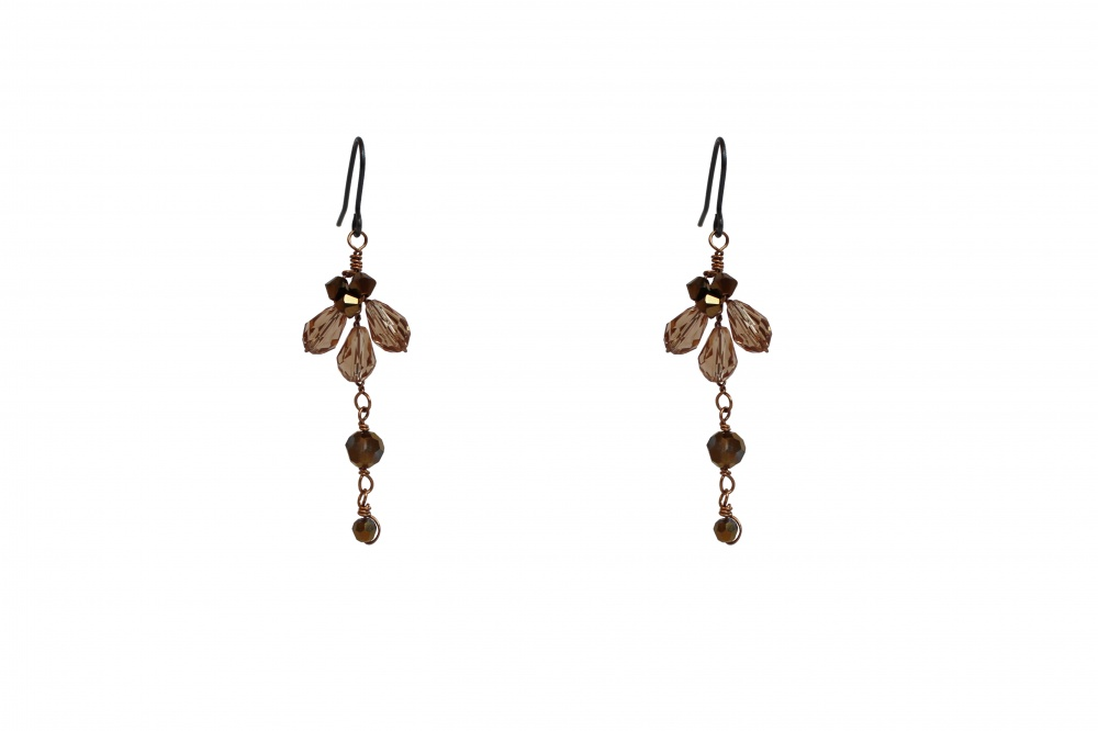 Image of Cappuccino tonal brown Swarovski crystal drop earrings  - click to view